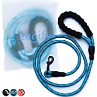 Zenify Pets Dog Lead - Durable Strong Chew Resistant Slip Lead Nylon Rope Padded Handle Mountain Climbing Harness Pet Puppy Training Slipknot Leash for Walking [1/2 inch 1.2cm Thick, 6 Foot Ft 183cm Length Long] (Blue)