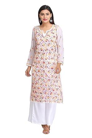9aed680f6d ADA Women's Faux Georgette Handmade Lucknowi Chikan Kurti (White, ...