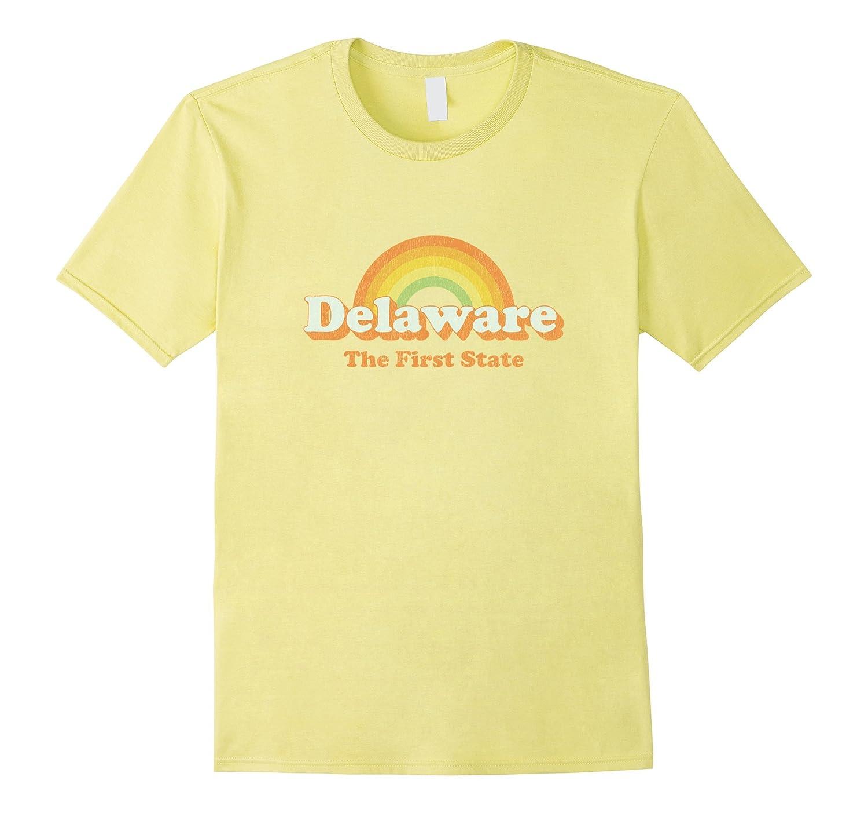 Retro Delaware T Shirt Vintage 70s Rainbow Tee Design-Rose