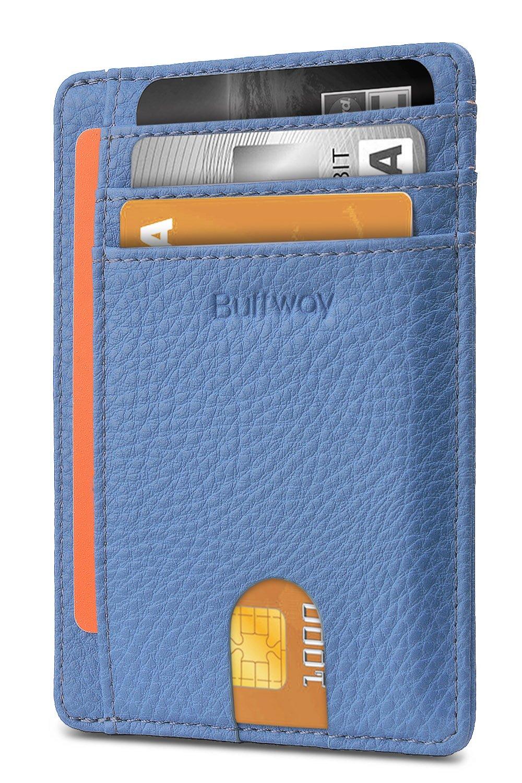 Slim Minimalist Leather Wallets for Men & Women - Lichee Blue