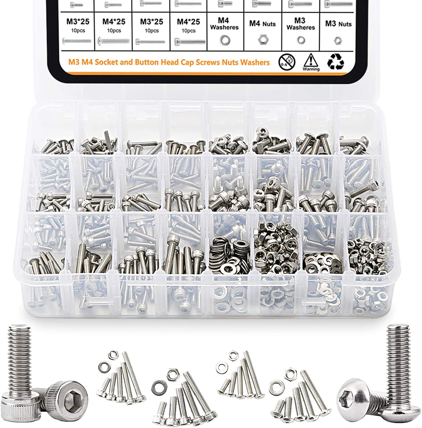 GTERNITY Metric M3 M4 Screws Assorted Hex Head Screws Nuts Washers Kit with Wrench 304 Stainless Steel 880PCS Bolts and Nuts Assortment Button Head/&Socket Head