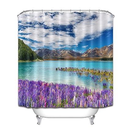 LB Scenery Shower CurtainMountain Ocean Scene Flowers Purple Blue Curtain60x72
