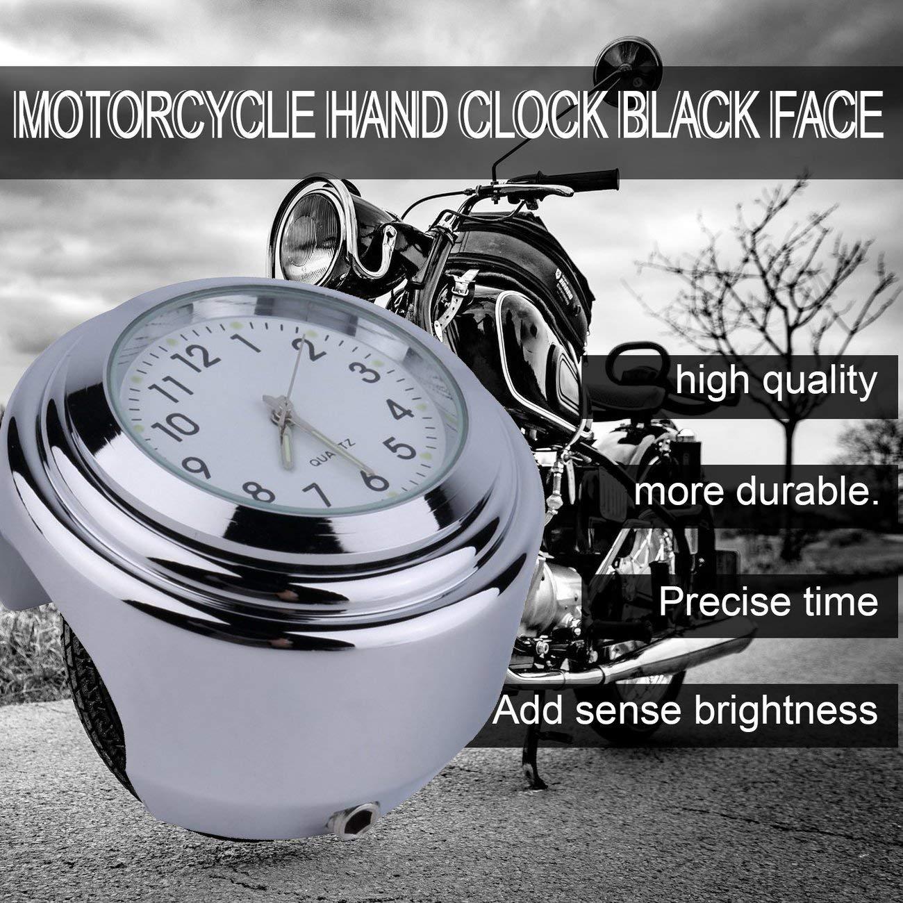 Elviray Moto /étanche Moto Guidon Montage Cadran Rond Horloge Accessoire Universel Guidon Montage Horloge