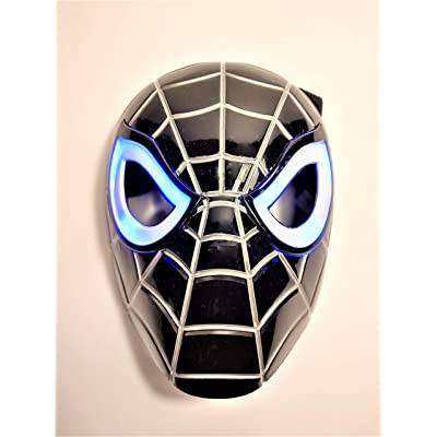 Premium Black Spiderman Mask / Venom Mask with LED Eyes That Light Up! (Batteries Included): Toys & Games [5Bkhe0706412]