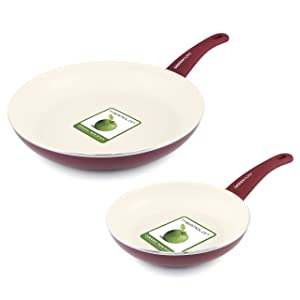 """GreenLife Soft Grip Ceramic Non-Stick 7"""" and 10"""" Open Frypan Set, Burgundy"""