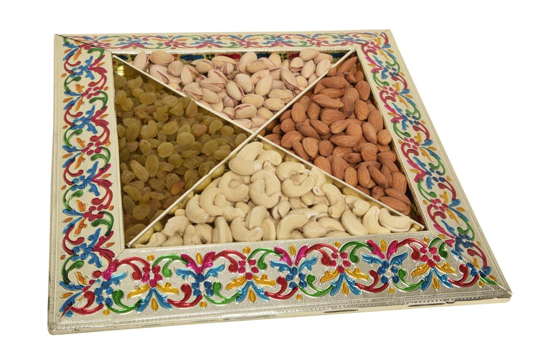 Buy Shubh Wedding Square Shape Meenakari Tray Dryfruit Tray
