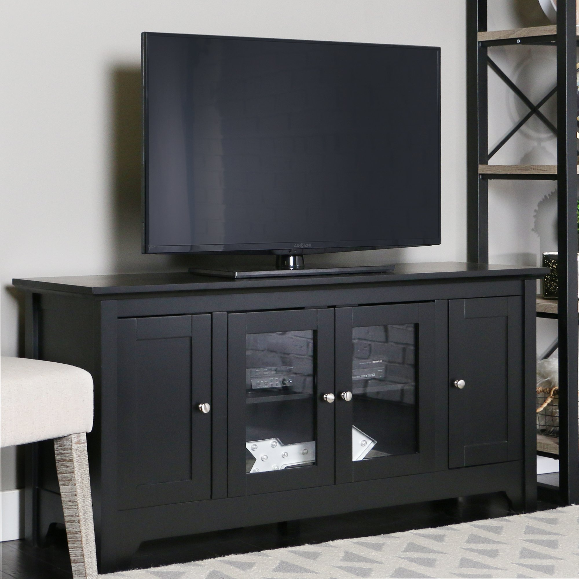 Walker Edison 53'' Wood TV Stand Console with Storage, Black