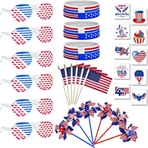 133 PCS Red White and Blue Party Favors Bulk,Fourth/4th of July Decor,Memorial Day/Independence Day Patriotic Decorations-100 Temporary Tattoos,6 Flags,6 Wristbands,15 Windmills,6 Shutter Sunglasses