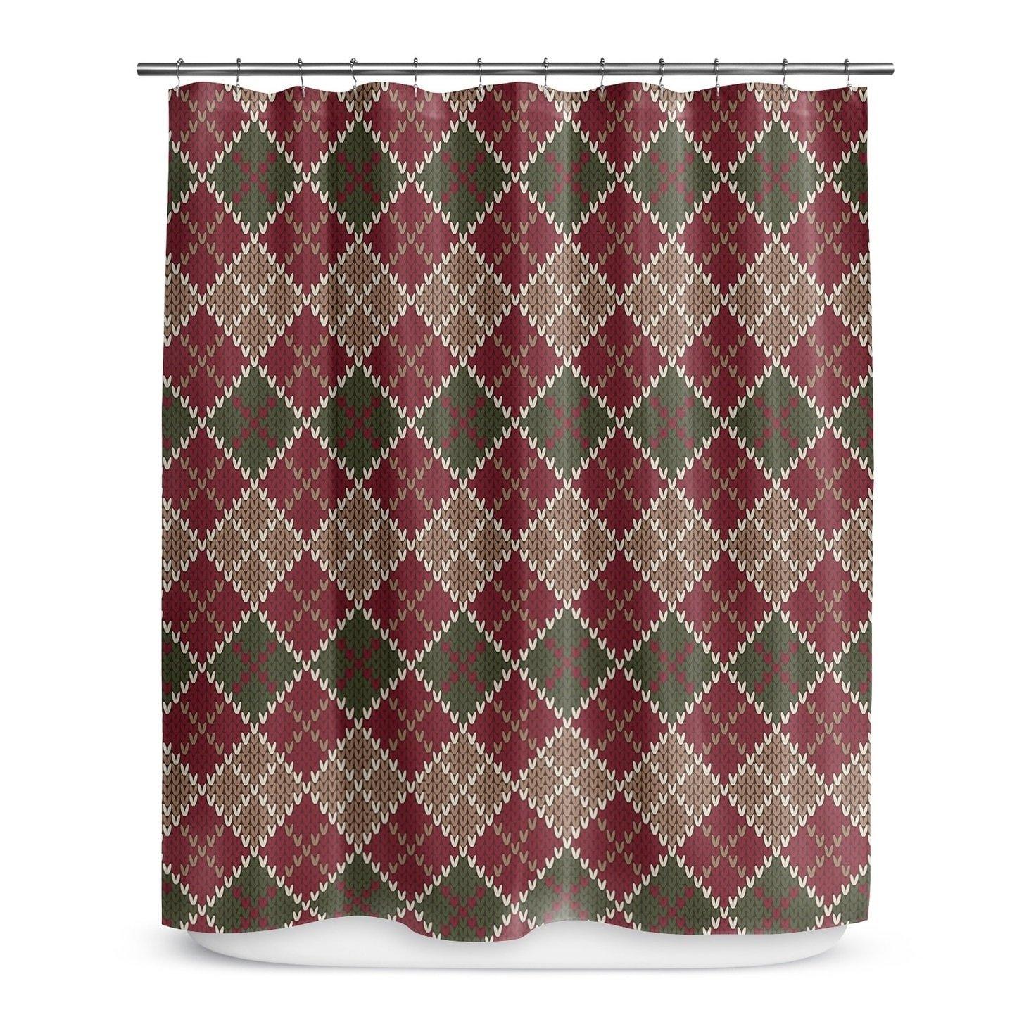 Earthy Geometric Diamonds Design, Western Top Shower Curtain, Printed Geo Diamonds Cubes Themed, Premium Modern Home Kids Bathroom Decoration, Bold Trendy Country Style, Burgundy, Green, Size 70 x 72