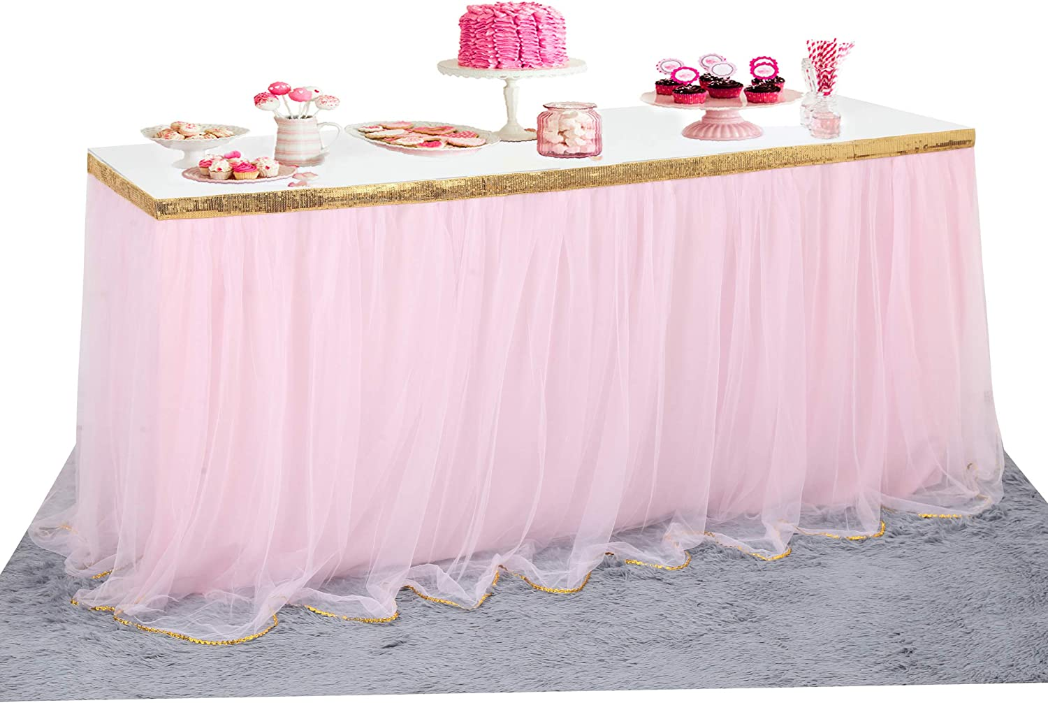 Pink Tulle Table Skirt Tutu Table Skirt for Candy Buffet Supplies Baby Shower Centerpieces Princess Birthday Unicorn Party Decorations 6ft