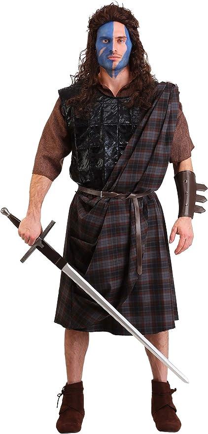Mens Scottish Warrior Medieval Braveheart Film Fancy Dress Costume