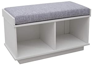 "Ravenna Home Reeder Entryway Upholstered Storage Bench, 31.5""W, White"