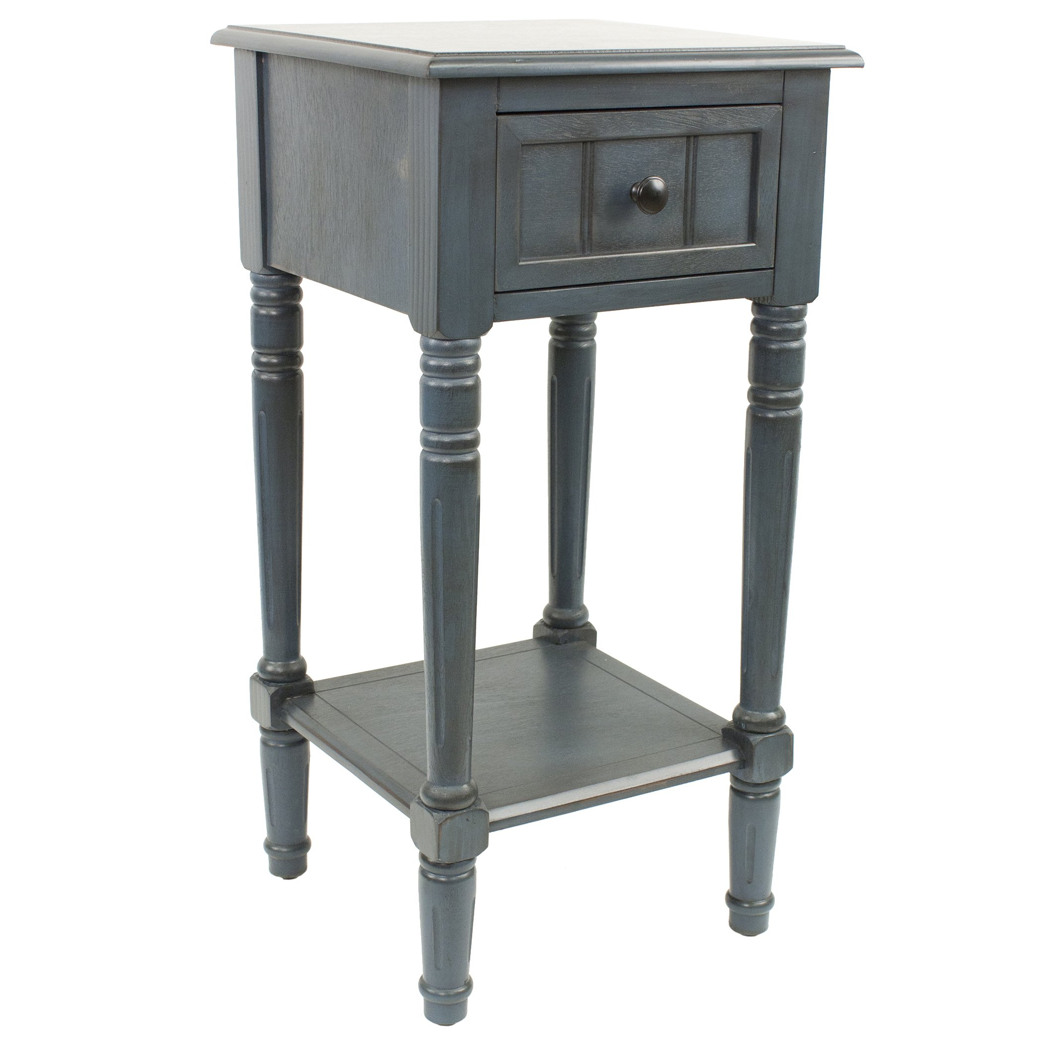 Décor Therapy FR1548 Simplify One Drawer Square Accent Table, Antique Navy