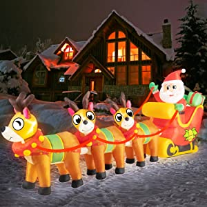 Rocinha 9.8 Ft Christmas Inflatable Santa Claus on Sleigh with Three Reindeers Christmas Blow Up Yard Decorations with Build-in LED Lights, Christmas Decoration Outdoor Inflatable Christmas Sleigh
