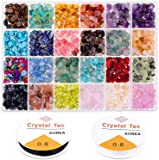 Crystal Chips and Gemstones Beads for Jewelry Making, 24 Colors Gemstones Chips Jewelry Bracelet Beads for Jewelry…