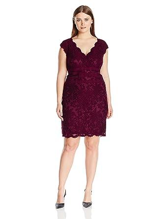 fcc1eaf71327 Tadashi Shoji Women's Plus-Size V-Neck Embroidered Lace Dress, Auburn, ...