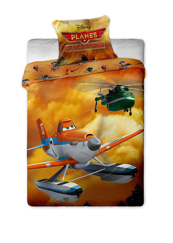Disney - Juego de funda de edredón y de almohada para cama individual (100% algodón), diseño de Dusty de Aviones: Equipo de Rescate JF060