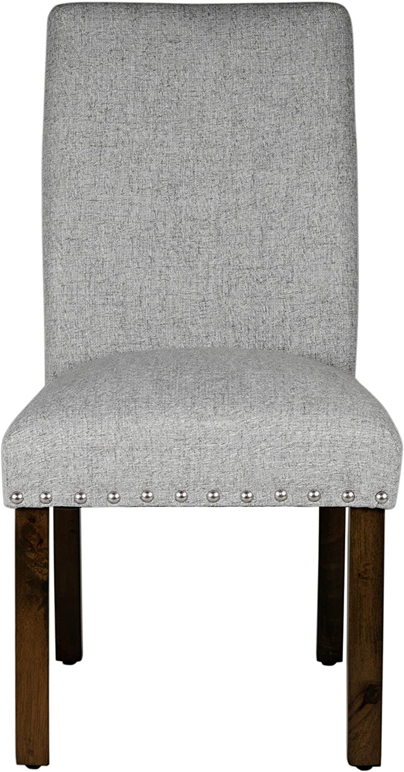 HomePop Parsons Classic Dining Chair with Nailhead Trim, Set of 2, Light Grey