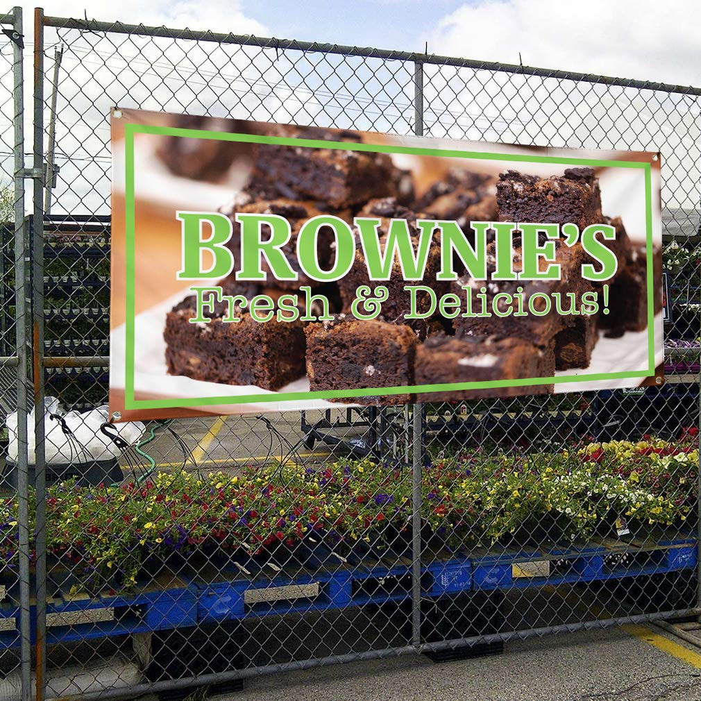 Vinyl Banner Sign Brownies Fresh /& Delicious 28inx70in Multiple Sizes Available 4 Grommets Set of 2 #1 Style A Marketing Advertising Brown