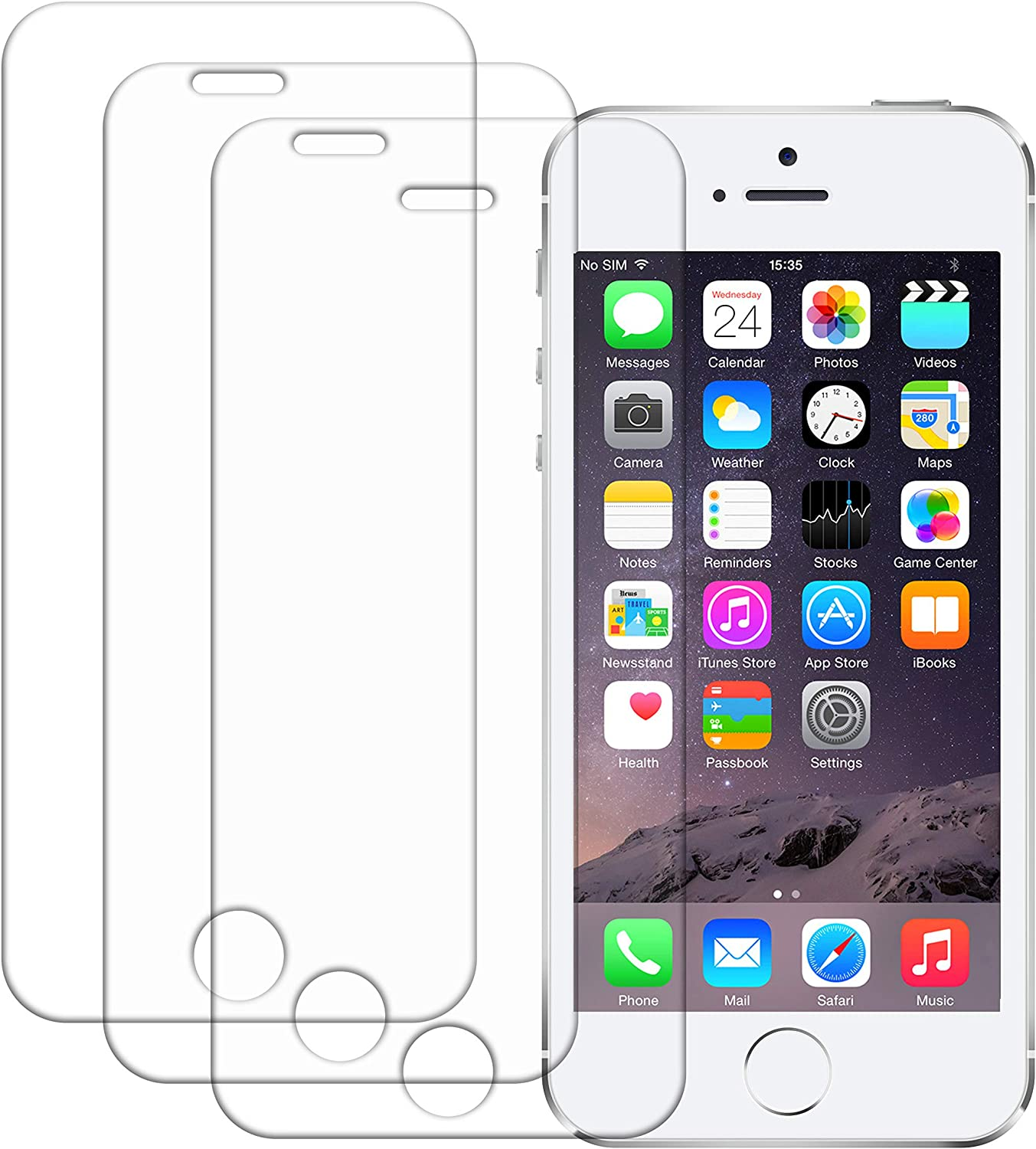 3 Pack iPhone 5s Screen Protector, Wisdompro 0.3mm Tempered Glass Screen Protectors for 4 inch Apple iPhone SE 1st Generation, iPhone 5, iPhone 5s, iPhone 5c