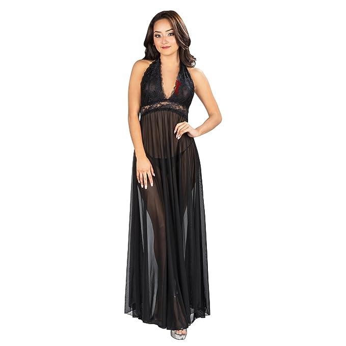 Amazon.com: Aerusi Women Black Floral Lace Halter Night Gown Dress ...