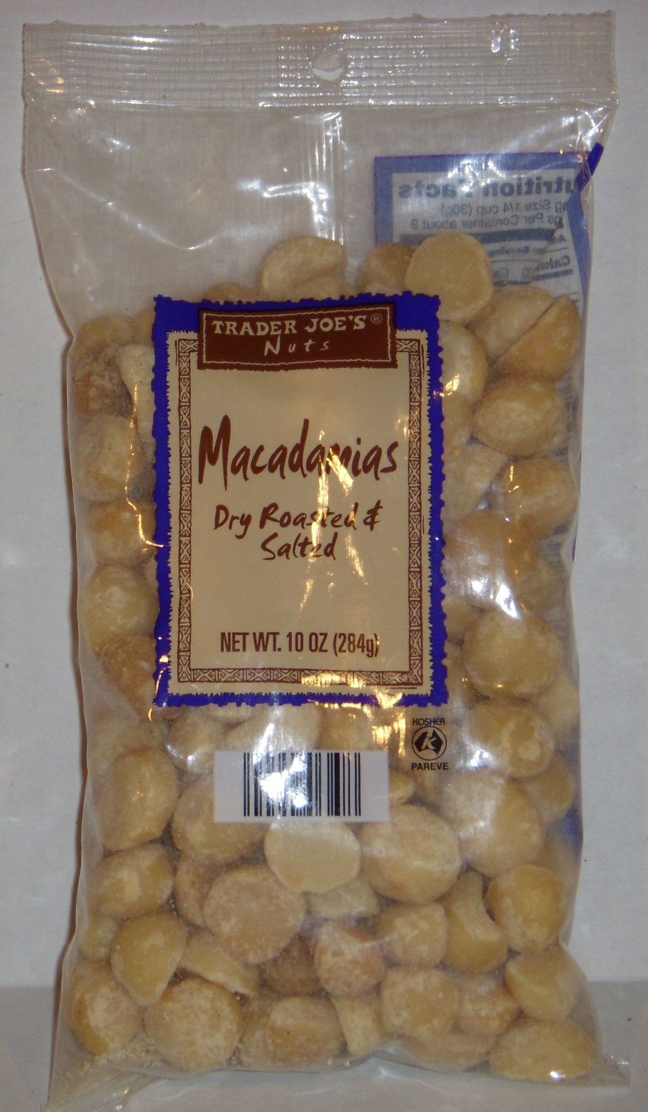Trader Joe's Macadamias (Dry Roasted and Salted), 10 oz (284g) Bag
