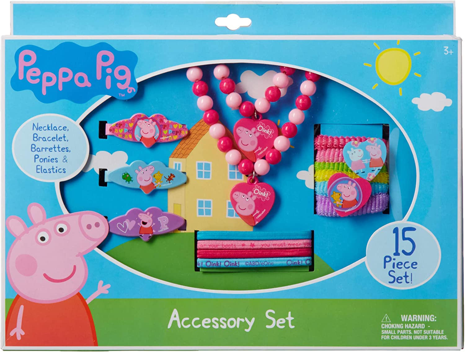 Pink Peppa Pig Necklace Bracelet and Hair Accessory Set 15 Piece