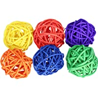 Bonka Bird Toys Vine Ball Small Bird Parrot Toy Part Craft Parrot cage Toys Cages Natural pet (Pack 6) …