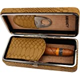 AMANCY Snake Pattern Leather Cedar Wood Lined 3 Cigar Travel Case Humidor with Cutter