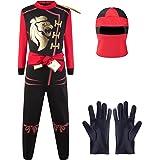 Katara 1771 - Costume ninja ragazzi rosso-nero travestimento bambini tuta bimbi guerriero - Taglia L (8-10 anni)
