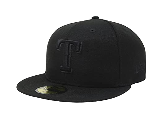 new styles 7bdc7 f2050 New Era 59Fifty Hat Texas Rangers Black on Black Fitted Cap 11591096 (7)