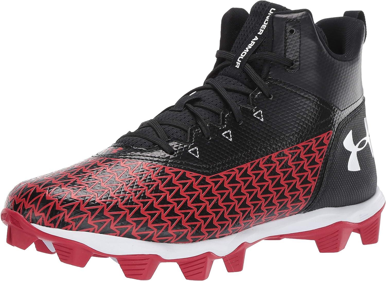 Under Armour Men's Hammer Mid RM Football Shoe, 黒 (004)/赤, 12 M US