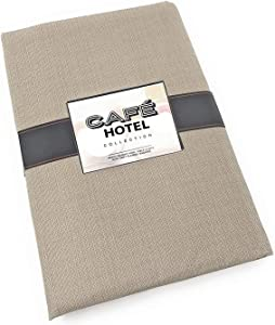 Cafe Hotel Linen Look Solid Color Heavy 4 Gauge Vinyl Flannel Backed Tablecloth, Indoor/Outdoor Wipe Clean Tablecloth, 60 Inch x 120 Inch Oblong/Rectangle, Sand