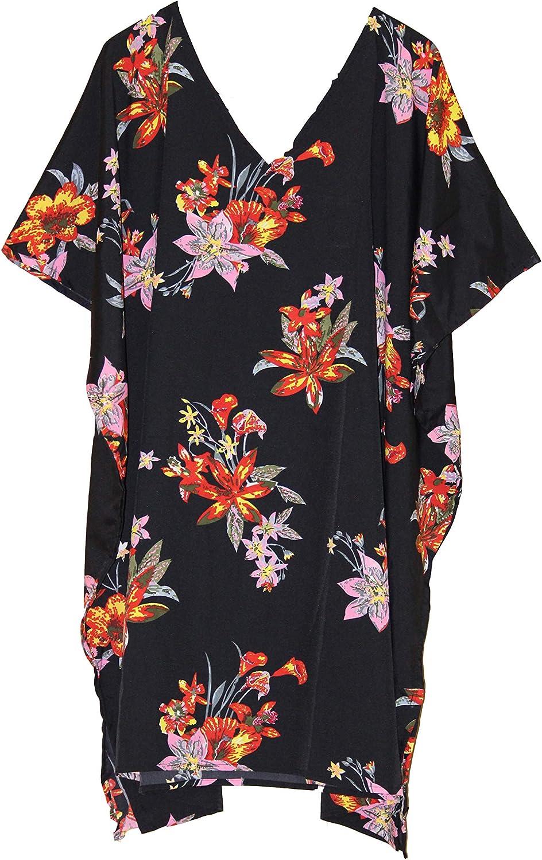 Womens Printed Floral V Neck Kaftan Short Dress Kimono Caftan Beach Cover up