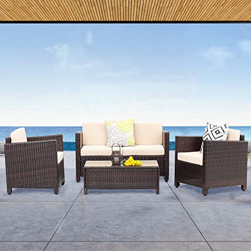 Wisteria Lane Outdoor Patio Furniture,4 Piece Patio Seating All-Weather Wicker Conversation Set