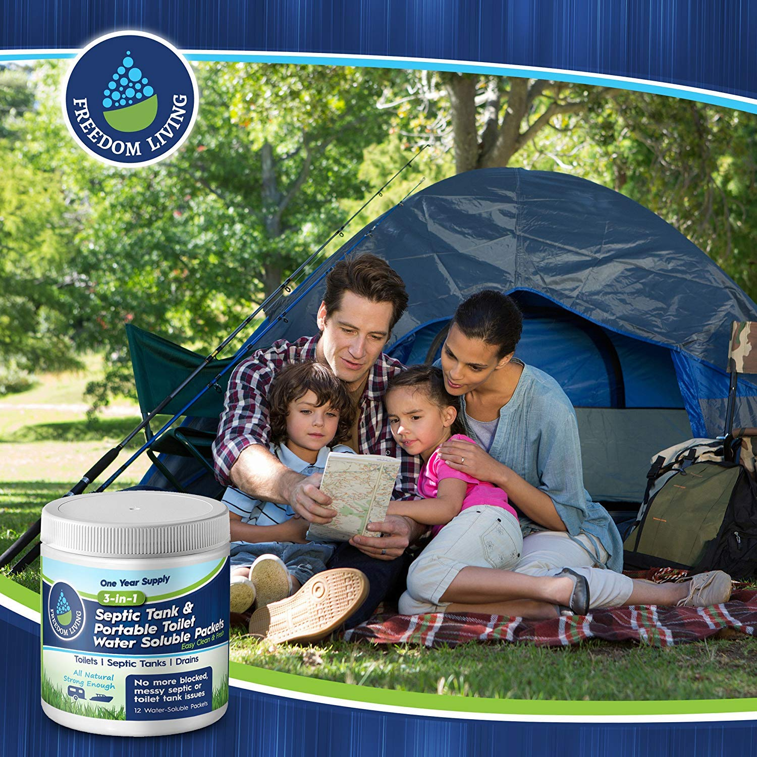 Septic Tank Treatment & Holding Tank Deodorizer Tablets, 1 year supply, Bio clean Packs for RV, Marine Portable Toilets, toilet cleaning chemicals, All Natural. Must have RV accessories by Freedom Living (Image #7)