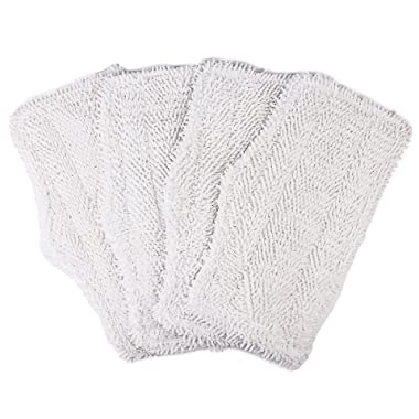 Flammi Replacement Washable Cleaning Pads for Shark Steam & Spray Mop SK410, SK435CO, SK460, SK140, SK141, S3101, S3250, S3251 (White, 4 Pack)
