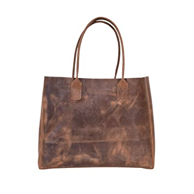 9624f3722f3c Amazon.com  Rustic Vintage Genuine Leather Handmade Brown Color Shoulder Handbag  Tote Bag Top Handle Bag for Women Handbags for Travel