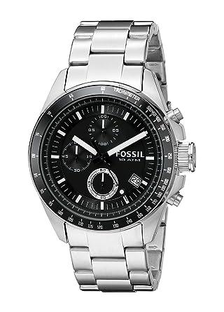 fossil decker men s quartz watch black dial and silver fossil decker men s quartz watch black dial and silver stainless steel bracelet ch2600