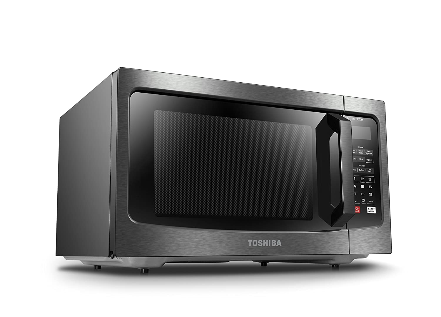 Toshiba EM245A5C-SS Microwave Oven with Inverter Technology Stainless Steel MIDEA 1.6 Cu.ft//1250W LCD Display and Smart Sensor