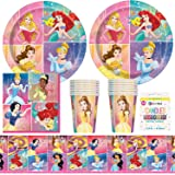 BashBox Disney Princess Birthday Party Supplies Pack Including Plates, Cups, Napkins, Tablecover (16 Guests)