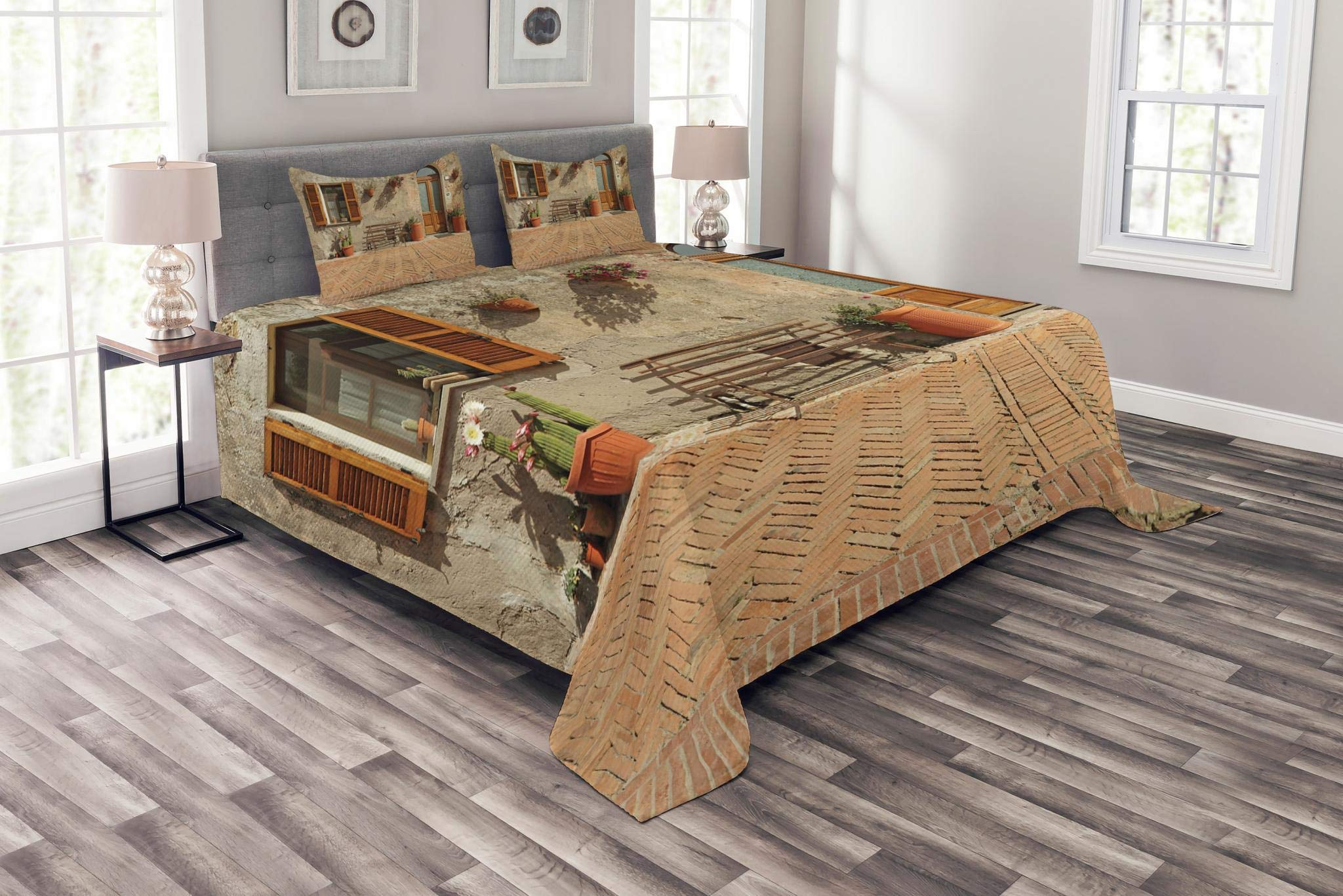 Lunarable Tuscan Bedspread Set Queen Size, Medieval Facade Rustic Wooden Door Ancient Brick Wall in Small Village, Decorative Quilted 3 Piece Coverlet Set with 2 Pillow Shams, Tan and Pale Cinnamon