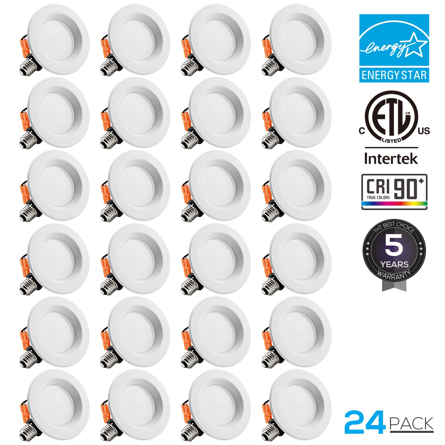 TORCHSTAR 24-PACK 4 inch Dimmable Recessed LED Downlight, 10W (65W Equivalent), CRI 90+, ENERGY STAR, 5000K Daylight, 700lm, LED Retrofit Lighting Fixture, 5 YEARS WARRANTY by TORCHSTAR (Image #1)