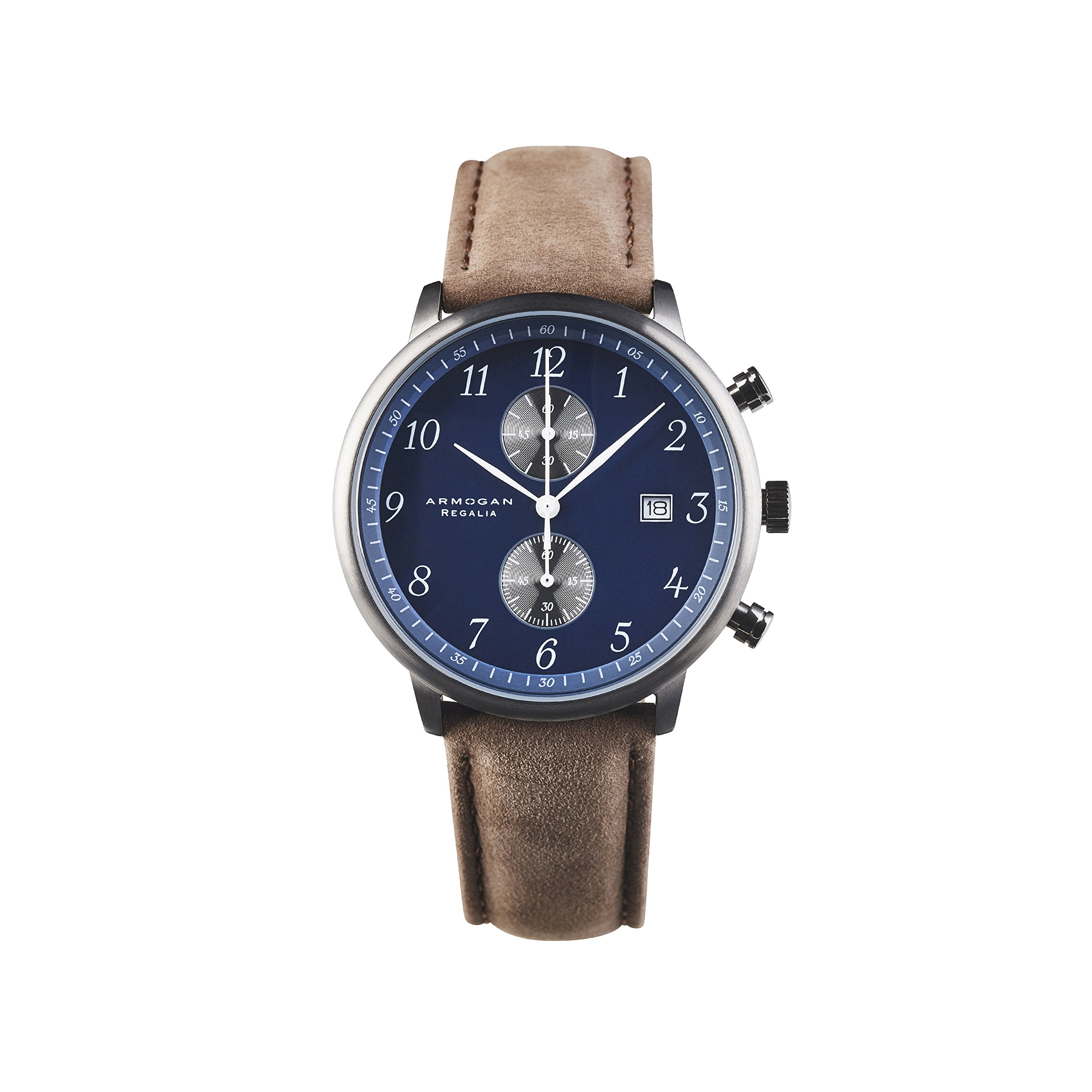 Armogan Regalia - Blue Sapphire S44 - Men's Chronograph Watch Leather Strap by ARMOGAN