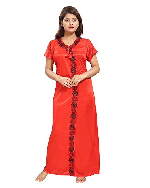 0ba139eab4 p Women's Satin Night Gown (Red, Large): Amazon.in: Clothing ...