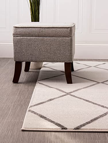 Super Area Rugs Morrocan Diamonds Rug, Ivory White Gray Trellis Print, 5-Feet by 8 Feet Designer Rug for Living Room