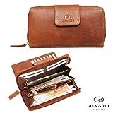 ALMADIH Leder Damen Portemonnaie Rindsleder mit 24 Kartenfächern + Reißverschlussfach, Langbörse Geldbörse Brieftasche Clutch braun Vintage (P25 Leder-Portemonnaie)