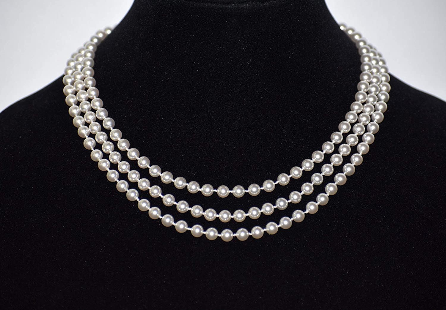 4acbcb108022d Three Row knotted White Swarovski Pearl Necklace For Women Sterling Silver  Clasp.