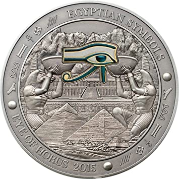 Eye Of Horus Egyptian Symbols Gilded Colored Silver Coin 3 Oz 20