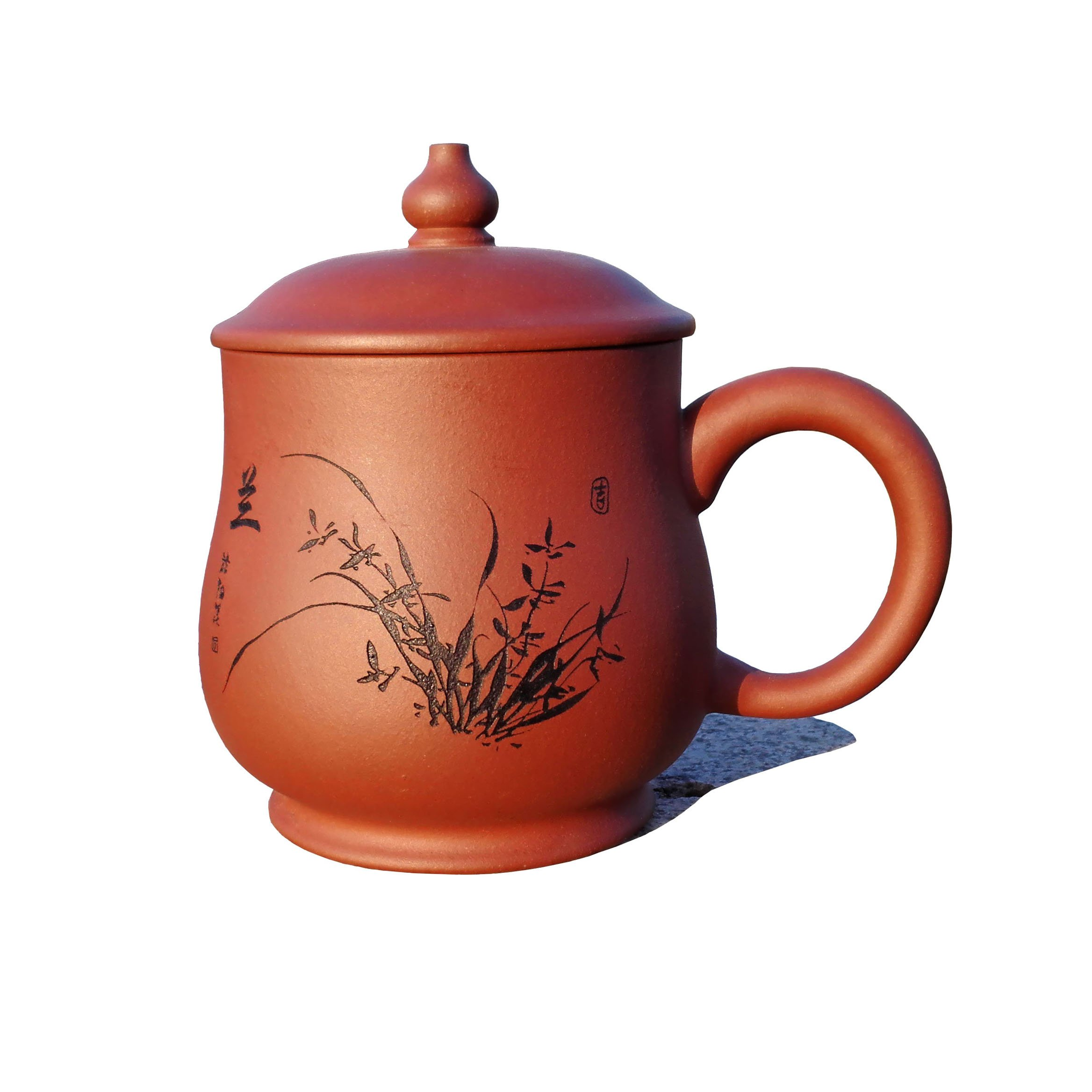 Yixing Teapot Handmade Orchids Tea Cup,Nature Red Clay,400cc